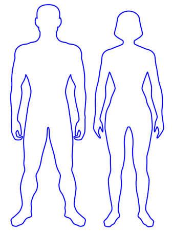 Ilustración del cuerpo humano contorno. El hombre y la mujer