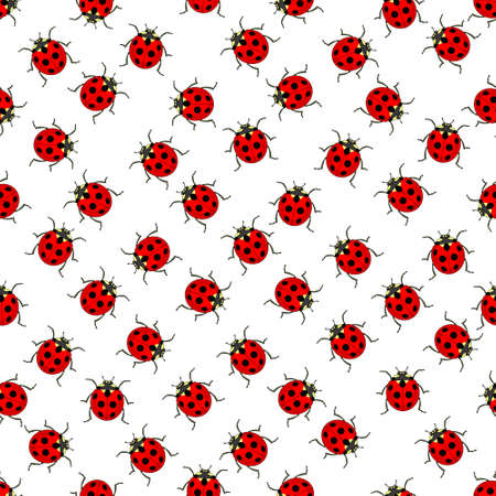 Seamless pattern of the ladybugs