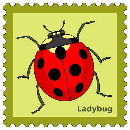 coccinellidae: Illustration of the ladybug postage stamp Illustration