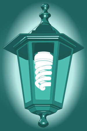 expedient: Illustration of the night street lantern with energy saving luminescent lamp