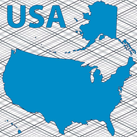 fully editable: Abstract contour map of the USA. All objects are independent and fully editable.