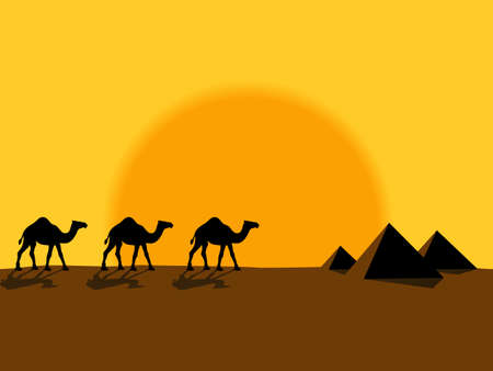 cartoon camel: Desert evening landscape with the camels and pyramids
