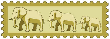 indian postal stamp: Illustration of the cartoon elephants group on postage stamp Illustration