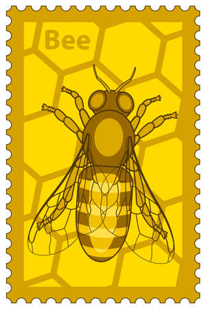 Illustration of the honey bee stamp 일러스트