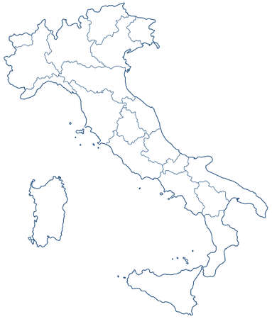 contour: Silhouette contour border map of the Italy. Illustration