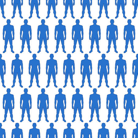 proportions of man: Seamless pattern of the silhouette contour human bodies