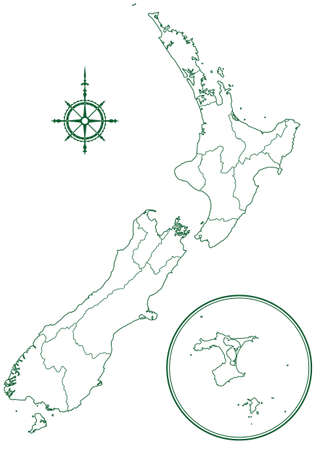 Contour border map of the New Zealand. All objects are independent and fully editable.  Çizim