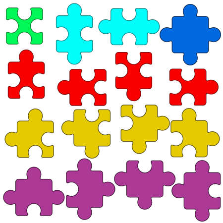 Illustration of the puzzle elements collection Vector