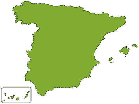 silhouette contour: Silhouette contour map of the Spain. All objects are independent and fully editable. Illustration