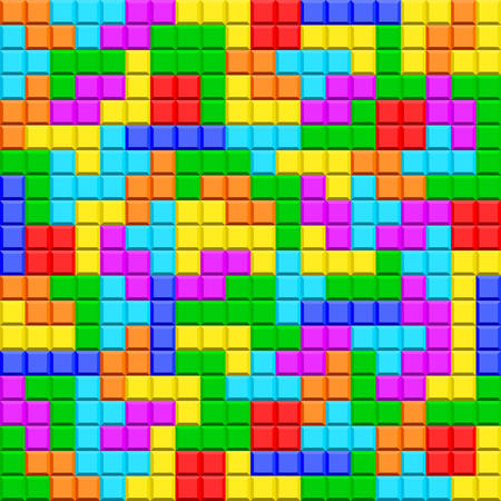 Seamless pattern of the tetris game elements Çizim