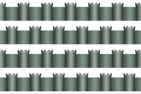 fortification: Seamless pattern of the towers and walls Illustration