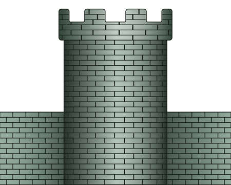 fortification: Illustration of the tower and wall icon
