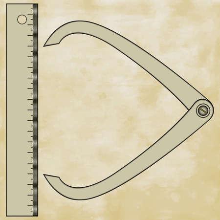gagant: Illustration de la r�gle et de l'�trier jauge sur fond de papier mill�sime Illustration