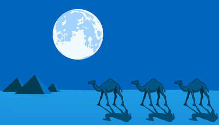 Desert night landscape with the full moon, camels and pyramids