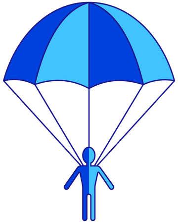 parachuter: Illustration of the cartoon flat parachuter icon Illustration