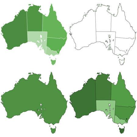 australia: Set of the Australia contour border maps. All objects are independent and fully editable. Source of map: http:www.lib.utexas.edumapsaustraliaaustralia_pol99.jpg