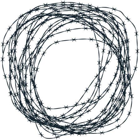in jail: Ilustración del ovillo de alambre de púas