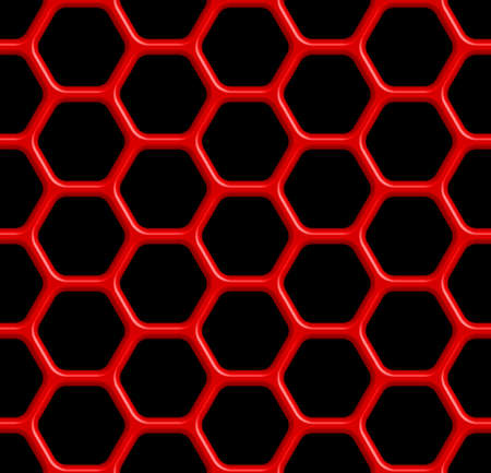 covering cells: Seamless pattern of the red abstract hexagonal grid on black Illustration