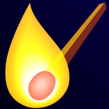 firing: Illustration of the burning match on dark background