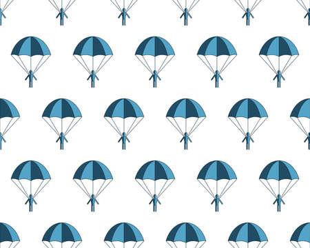 fallschirmj�ger: Nahtloses Muster der Karikatur flachen Fallschirmspringer
