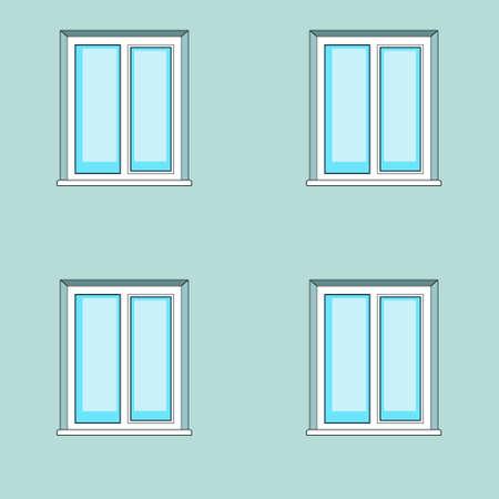 pane: Illustration of the windows on wall facade Illustration