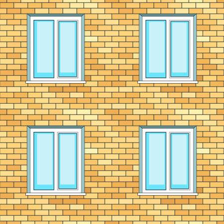 pane: Seamless pattern of the windows on brick wall facade