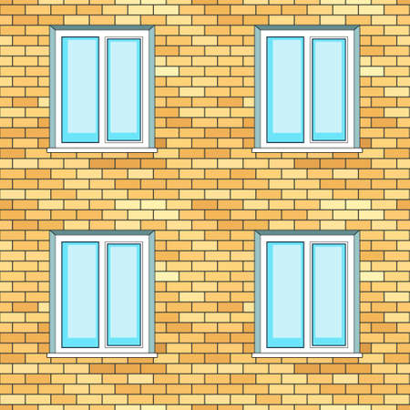 Seamless pattern of the windows on brick wall facade