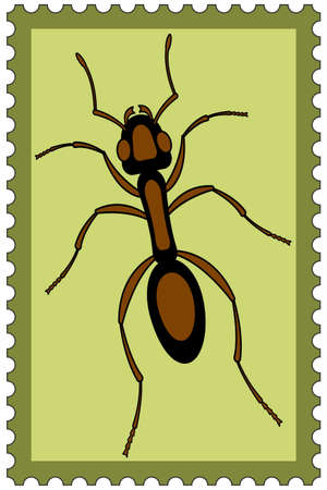 Illustration of the ant insect on postage stamp