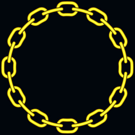 catenation: Illustration of the abstract gold chain on black background