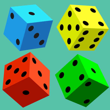 tossing: Illustration of the varicoloured dice cubes