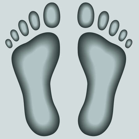 footprints in sand: Illustration of the two human footprints