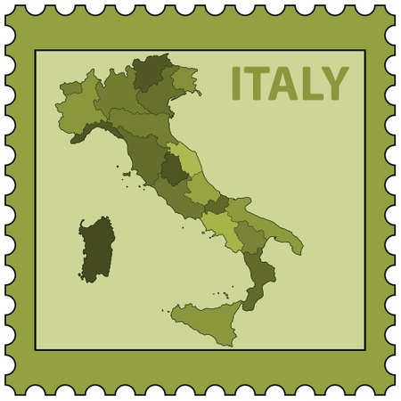 Silhouette contour border map of the Italy on postage stamp. All objects are independent and fully editable. Source of map: http:www.lib.utexas.edumapseuropeitaly_admin_06.pdf Vector