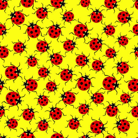 Seamless pattern of the various ladybugs