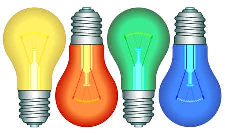 wolfram: Illustration of the color light bulbs set Illustration