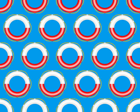 rescuing: Seamless pattern of the lifebuoy