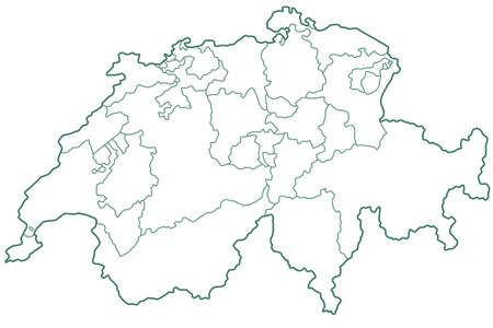 independent: Silhouette contour border map of the Switzerland. All objects are independent and fully editable. Source of map:http:www.lib.utexas.edumapseuropeswitzerland.jpg http:www.lib.utexas.edumapseuropeswitzerland_admin_2000.jpg