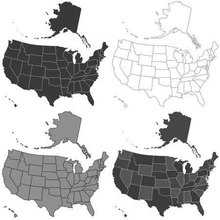 tinted: Set of the USA monochrome maps set. All objects are independent and fully editable. Source of map:  http:www.lib.utexas.edumapsunited_statesn.america.jpg