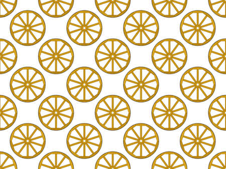 rung: Seamless pattern of the old vintage wooden wheels