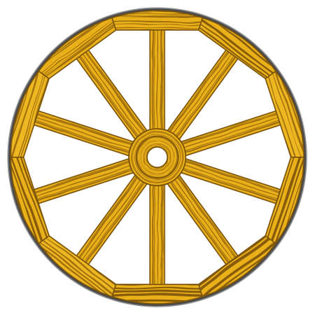 outmoded: Illustration of the old vintage wooden wheel