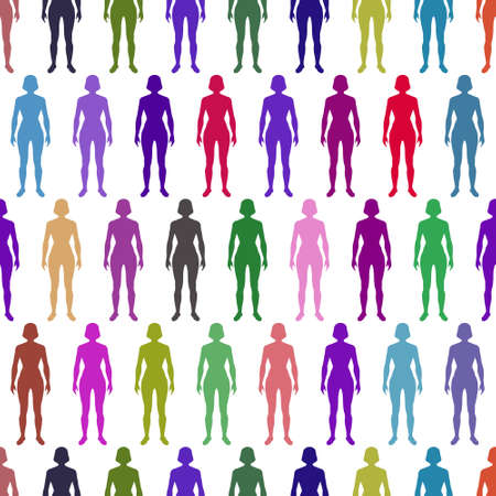 Seamless pattern of the multicolored women silhouettes icons Illustration