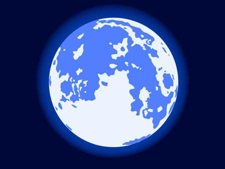gloaming: Illustration of the full blue moon on dark sky background