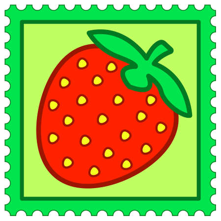 bacca: Illustration of the strawberry on postage stamp