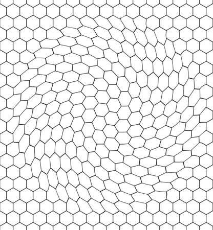 distort: Seamless pattern of the warped hexagonal net Illustration