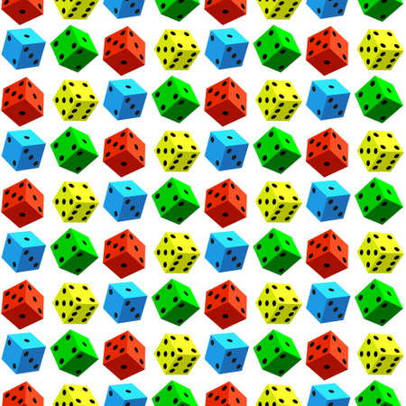 wager: Seamless pattern of the varicoloured dice cubes