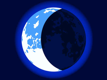 gloaming: Illustration of the crescent blue moon on dark sky background