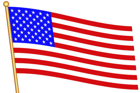 flagstaff: Flag of the United States and flagstaff. All objects are independent and fully editable