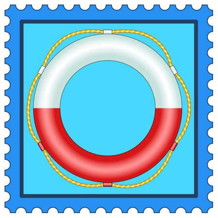 rescuing: Illustration of the life buoy on postage stamp