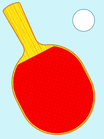 Illustration of the racket and ball for table tennis