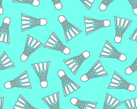 badminton: Seamless pattern of the badminton shuttlecock icon