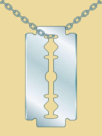 razor blade: Illustration of the razor blade on chain Illustration